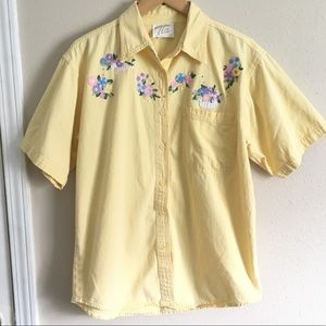 Vintage Yellow Button Down Floral Patch Shirt